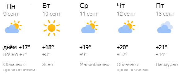 Прогноз погоды в Кирове на рабочую неделю с 9 по 13 сентября