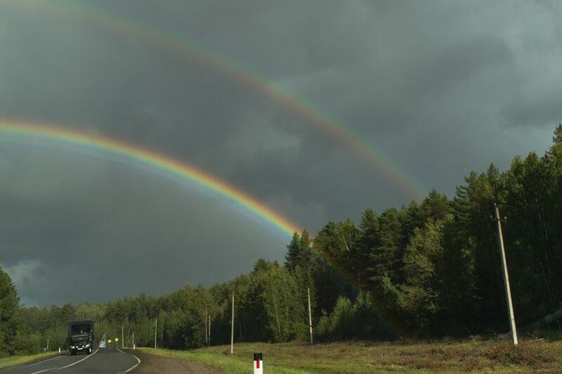 Жители региона запечатлели необычную радугу
